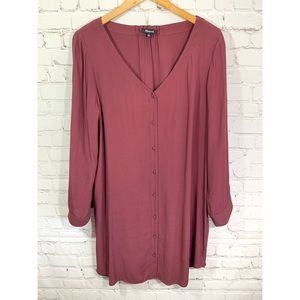Madewell Mauve Long Sleeve Button Down Shirt Dress